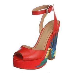 NINE West Brazil Tomato Red Platform Heels